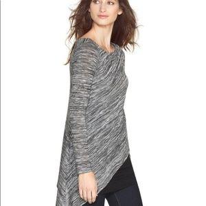 WHBM   Layered Asymmetrical Long Sleeve Tunic Top